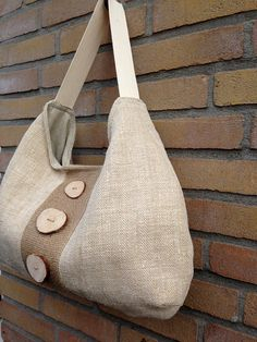 Recycled antique linen tote bag with burlap by boonestaakjes
