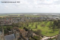 Looking down towards Cherry Park from the Great West Tower of Ely Cathedral.