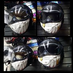 2 custom painted smiling face helmets on the Z1R and Shoei Qwest by airgraffix.com #airgraffix #customhelmet #customhelmets