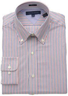 Tommy Hilfiger Men's Slim Fit Red Blue Stripe, Blue/Multi, 15 32/33