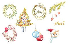 Watercolor Christmas clipart set by masha gross on @creativemarket