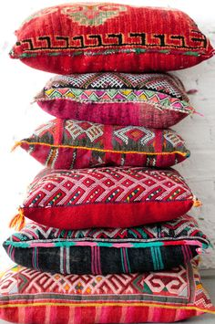 Moroccan Kilim pillows. These are particularly beautiful against crisp white bedding.