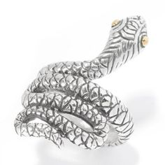Artisan Silver by Samuel B. 18K Gold Accented Textured Reptile Wraparound Ring