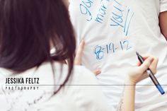 Awesome engagement session idea: bride and groom get fabric markers and right messages to each other on white shirts! Create a cute keepsake that you can frame and have photos of it! Creative engagement session ideas
