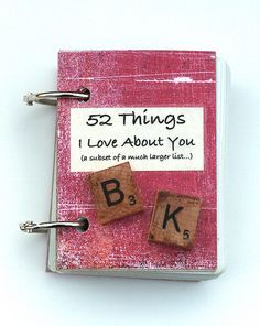 """This is similar to a craft I do for family when they hit a significant birthday only mine is not in a book format but in a frame such as """"Forty Things I love about Jules"""" for my sister's 40th.  Love this idea with a deck of cards!  SO creative!"""
