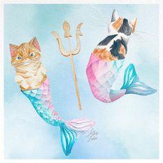ACEO LE art print Cat Mermaid 10 from original painting by L.Dumas