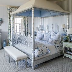 [Very unusual window cornice--curved, padded, gathered, edged. It's well designed to go with the bed canopy.] Bedroom by Mario Buatta for Hilary Geary Ross with Étoiles and Coeurs cotton percale bedding by D. Luxury Bedding Collections, Luxury Bedding Sets, Luxury Linens, White Bedroom Design, Blue Bedroom, Canopy Bedroom, French Country Bedrooms, Blue Rooms, Blue Bedding