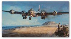 Iwo Jima - A Hard Won Haven by John D. Shaw  The painting depicts a B-29 with one engine out, as it touches down on the airstrip at Iwo Jima...