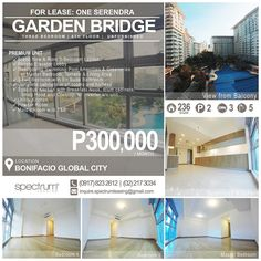FOR LEASE / RENT: THREE BEDROOM - GARDEN BRIDGE Location: 6th Floor Garden Bridge One Serendra Bonifacio Global City Taguig Philippines  PREMIUM UNIT Brand New & Rare 3-Bedroom Layout Private Elavator Lobby Spacious Terrace with Overlooking One Serendra Swimming Pool Amenities & Garden 3 Full Bedroom with En Suite Bathroom Complete cabinets in all rooms and hallway Fantastic View of One Serendra Amenities in Master Bedroom Master Walk-in Closet Spacious T&B With Double Sink & Bathtub…