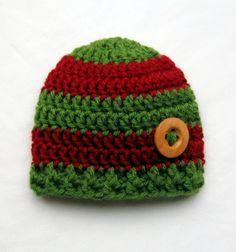 Christmas Baby Hat - Baby Boy Hat - Baby Boy Hats - Baby Hat - Crochet Baby Hats - Newborn Baby Boy Hats - Photo Props Boys. $16.95, via Etsy.