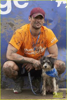 David Gandy Gets Down & Dirty in the Mud with His Cute Pup!