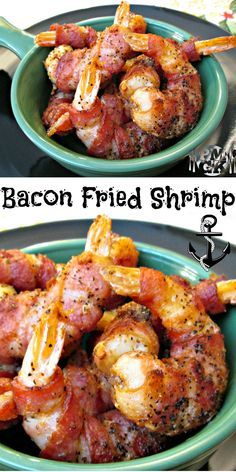 Bacon Fried Shrimp: You have got to watch the video on this one. All I did is combine a few of my favorite things and pa-pa-POW. out came the Bacon Fried Shrimp! Get the full recipe on my website and be sure to watch the video tutorial. Poor Man's Go Best Grilled Shrimp Recipe, Fried Shrimp Recipes, Pork Rib Recipes, Shrimp Dishes, Bacon Recipes, Fish Dishes, Fish Recipes, Seafood Recipes, Paleo Recipes