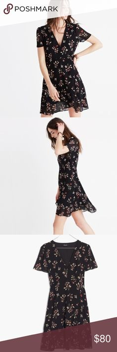 """Madewell Posy Floral Ruffle Dress Pretty and girly Posy Floral Ruffle Dress in size 14 from Madewell.  In excellent condition.  Black with red and white flowers. 32 3/4"""" from shoulder to hemline. Madewell Dresses Mini"""