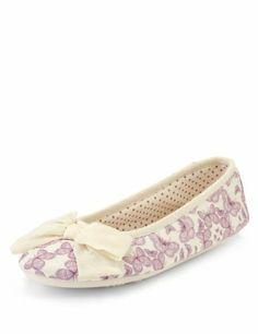 M&S Collection Butterfly Print Ballerina Slippers-Marks & Spencer