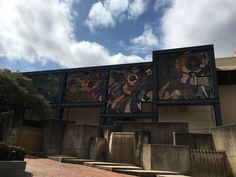 Fabulous mosaic wall and water works in the side courtyard