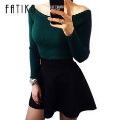 Bunte Bekleidung Herbst und Winter grundlegende Frauen Pullover schlitzausschnitt Trägerlosen Pullover verdickung pullover CA111A
