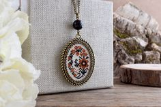Ochre and black flowers embroidered necklace Floral necklace