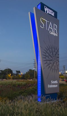 Edge-Illuminated STAR Technology Campus Entrance Pylon Sign. Design by Mitchell Associates.