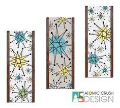 Franciscan Starburst, Decorator Art Ensembles. Mid Century Inspired Embellished Decorative Textile Wall Art Panels by Atomic Crush Design.