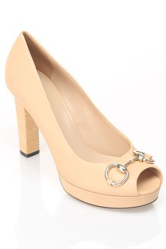 Gucci Ladies' Nappa Charlotte Peep Toe Pump In Light Powder