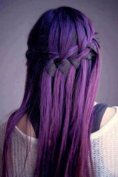 Purple hair with a water fall braid. Love the braid...but the hair color doesn't look as good as some I've seen...spray-on or other temp color maybe? Awesome braid, though.