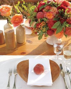 """""""When I think summer, I think peaches,"""" says Cossette, who placed one on each plate and nestled them into compotes next to flowers. Not your favorite fruit? Choose another. """"If you can eat it, you can use it in a display,"""" she says."""