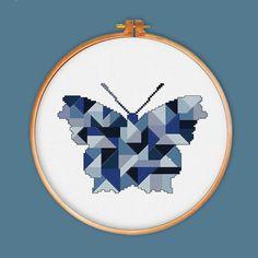 Mariposa geométrica punto de cruz patrón decoración