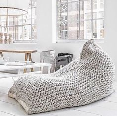 Chunky merino wool White/Cream Knit Adult bean bag / by GieMarGa