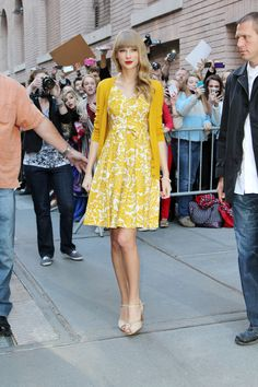Taylor Swift Street StyleGolden Girl: Taylor knows how to embrace a color --choose your favorite, or even the one that makes your eyes pop, and run with it. via @stylelist