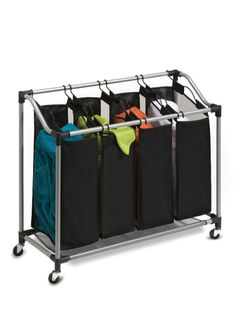 Honey-Can-Do Quad Laundry Sorter with Mesh Bags, - The Home Depot Laundry Room Storage, Laundry Hamper, Storage Organization, Laundry Rooms, Storage Ideas, Laundry Organizer, Laundry Cart, Mud Rooms, Organization Ideas