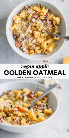 Golden Coconut Apple Oatmeal Golden coconut apple oatmeal is inspired by golden milk, These oats are made with beautiful warming spices like cardamom, ginger, cinnamon and turmeric and simmered with apple, flax and coconut for a. Vegan Oatmeal, Apple Oatmeal, Oatmeal Toppings, Oatmeal Recipes, Healthy Vegan Breakfast, Eat Healthy, Healthy Meals, Vegetarian Recipes, Healthy Recipes