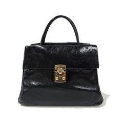 MiuMiu Shopping VITELLO SHINE bag in Nero RN0920 47370a0d86