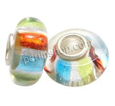Lampwork Perlen European Stil, Rondell, handgemacht, einadriges Kabel Messing ohne troll & Silberfolie, farbenfroh, frei von Nickel, Blei & ...