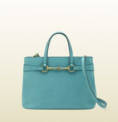 Gucci - bright bit light blue leather top handle tote ($1,790)