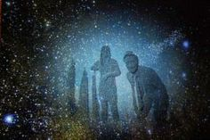 """Using Kinect, interactive art installation """"Heart of Stars"""" showed guests' figures mapped into the constellations. The installation was projected onto a screen in the rear of the foyer."""