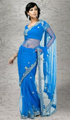 Blue #Designer #Sari USA  For More Saree Check this page now :-http://www.ethnicwholesaler.com/sarees-saris