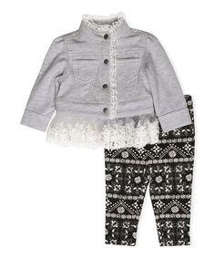 Wendy Bellissimo Gray Lace-Hem Jacket & Black Arabesque Leggings - Infant   zulily