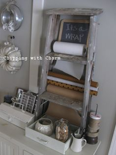 Chipping with Charm: old ladder gift wrap station