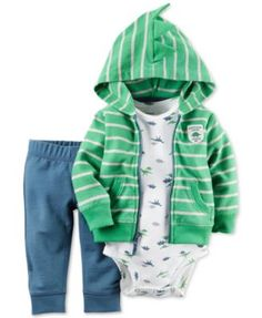 He'll look cool and stay cozy in this boys' hooded cardigan, bodysuit and pants set from Carter's. Niñas Carters Baby, Baby Boy Newborn, Baby Baby, Baby Boy Outfits, Kids Outfits, Fleece Cardigan, Cute Underwear, Striped Jacket, Sweater Design