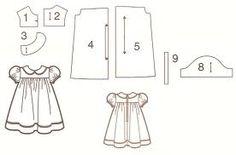 vestido de boneca com gola molde - Pesquisa Google