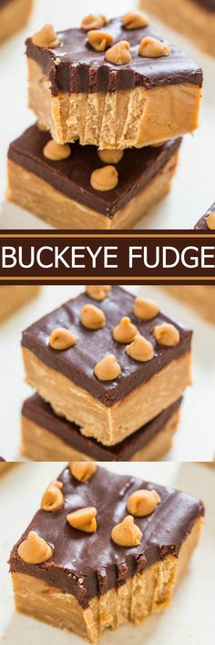 Buckeye Fudge - EASY, no-cook, no-fuss, FOOLPROOF fudge that's ready in 1 hour!! Dense, chewy and full of rich peanut butter flavor with a smooth, fudgy chocolate topping! It's irresistible!!