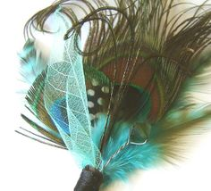 Teal Peacock Groom Groomsman Boutonniere with Vintage AB Green Crystal and Skeleton leaf Limited Number Available