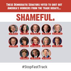 These Democratic Senators voted to silence debate on fast tracking job-killing trade deal. #NoFastTrack #TPP