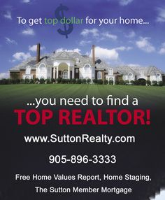 Thinking of Selling Your Home? Think Sutton! Free Market Evaluation - Full Report on Sales in Your Area! Find Out if Staging Will Increase Home Value Free Market, Condos For Sale, Home Staging, Home Values, Taj Mahal, Marketing, Staging