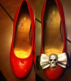Rockabilly shoe clips  Before - when my dog ruined my shoes  After - buying these beautiful shoe clips!