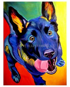 Colorful Pet Portrait German Shepherd Art Dog Print 8x10 by Alicia VanNoy Call