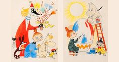 Charming Moomin Easter paintings by Tove Jansson - Moomin Les Moomins, Sheridan Love, Easter Paintings, Tove Jansson, Happy Easter, Easter Eggs, Photo Art, Rooster, Charmed