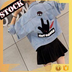 L8905 Wholesale Fashion Clothing 2017 Women Denim Jacket Fall and Winter Wash Print Short Jean Coats Plus Size Women Clothing