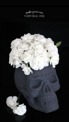 make your foam skull vase for halloween - easy to make! no special tools required