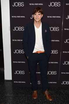 Ashton Kutcher at the JOBS Premier in NYC Wearing our Phillips Blazer and Blade IV Pant in Navy